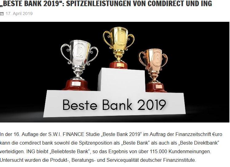 Beste Bank Beliebteste Bank 2019